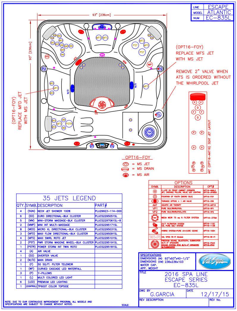 Ec835 Hot Tub Line Drawing Secard Pools Amp Spas